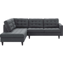 Empress 2 Piece Upholstered Fabric Left Facing Bumper Sectional, Fabric, Grey Gray 13680