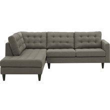 Empress 2 Piece Upholstered Fabric Left Facing Bumper Sectional, Fabric, Grey Gray 13681