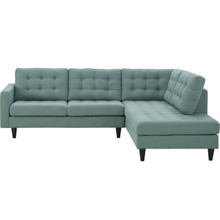 Empress 2 Piece Upholstered Fabric Left Facing Bumper Sectional, Fabric, Blue 13682