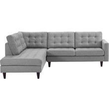 Empress 2 Piece Upholstered Fabric Left Facing Bumper Sectional, Fabric, Light Grey Gray 13683