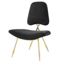 Ponder Upholstered Velvet Lounge Chair, Velvet Fabric Metal Steel, Black 13684