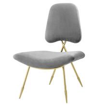 Ponder Upholstered Velvet Lounge Chair, Velvet Fabric Metal Steel, Grey Gray 13685