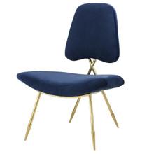 Ponder Upholstered Velvet Lounge Chair, Velvet Fabric Metal Steel, Navy Blue 13687
