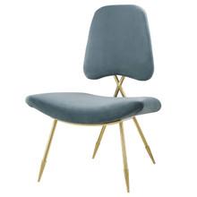 Ponder Upholstered Velvet Lounge Chair, Velvet Fabric Metal Steel, Blue 13688