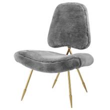 Ponder Upholstered Sheepskin Fur Lounge Chair, Metal Steel Skin, Grey Gray 13689