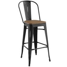 Promenade Bar Stool, Metal Steel Wood, Black 13700