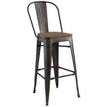 Promenade Bar Stool, Metal Steel Wood, Brown 13701