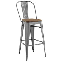 Promenade Bar Stool, Metal Steel Wood, Silver 13702