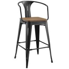 Promenade Bar Stool, Metal Steel Wood, Black 13714