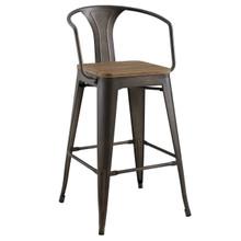 Promenade Bar Stool, Metal Steel Wood, Brown 13715