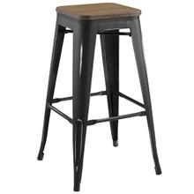 Promenade Bar Stool, Metal Steel Wood, Black 13718