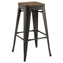 Promenade Bar Stool, Metal Steel Wood, Brown 13719
