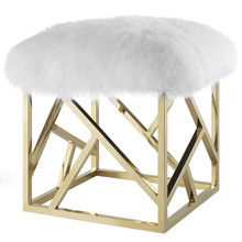 Intersperse Sheepskin Ottoman, Metal Steel Skin, Gold White 13767