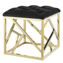 Intersperse Ottoman, Velvet Fabric Metal Steel, Gold Black 13768