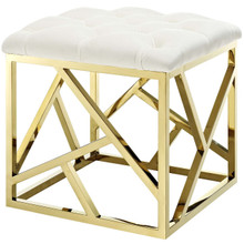 Intersperse Ottoman, Velvet Fabric Metal Steel, Gold Ivory 13770