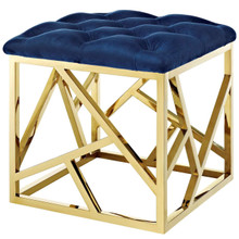 Intersperse Ottoman, Velvet Fabric Metal Steel, Gold Navy 13771