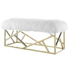 Intersperse Sheepskin Bench, Metal Steel Skin, Gold White 13772