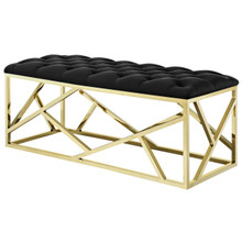 Intersperse Bench, Velvet Fabric Metal Steel, Gold Black 13773