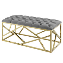 Intersperse Bench, Velvet Fabric Metal Steel, Gold Gray 13774