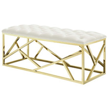 Intersperse Bench, Velvet Fabric Metal Steel, Gold Ivory 13775