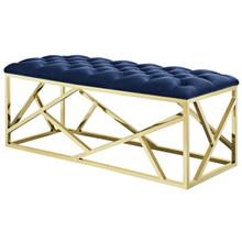 Intersperse Bench, Velvet Fabric Metal Steel, Gold Navy 13776