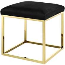 Anticipate Ottoman, Velvet Fabric Metal Steel, Gold Black 13778