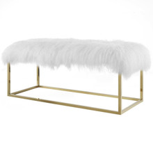 Anticipate White Sheepskin Bench, Velvet Fabric Metal Steel, Gold 13782