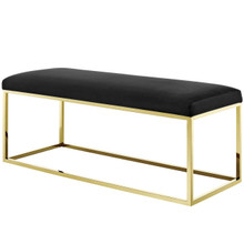 Anticipate Fabric Bench, Velvet Fabric Metal Steel, Gold Black 13783