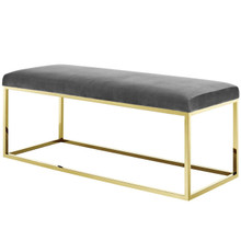 Anticipate Fabric Bench, Velvet Fabric Metal Steel, Gold Gray 13784