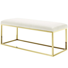 Anticipate Fabric Bench, Velvet Fabric Metal Steel, Gold Ivory 13785
