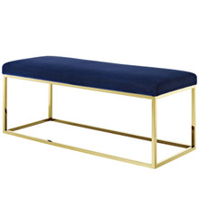 Anticipate Fabric Bench, Velvet Fabric Metal Steel, Gold Navy 13786