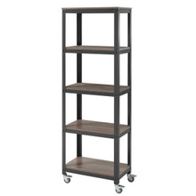 Vivify Bookcase, Wood Metal Steel, Black 13789