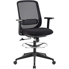 Acclaim Mesh Drafting Chair, Fabric, Black 13803