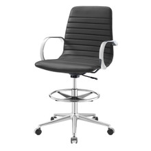 Groove Ribbed Back Drafting Chair, Fabric, Grey Gray 13806