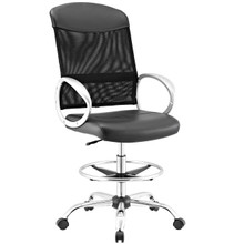 Emblem Mesh and Vinyl Drafting Chair, Fabric, Black 13808