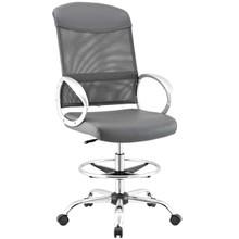 Emblem Mesh and Vinyl Drafting Chair, Fabric, Grey Gray 13809
