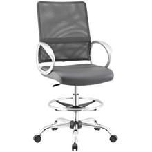 Command Mesh and Vinyl Drafting Chair, Fabric, Grey Gray 13811