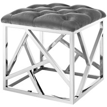 Intersperse Ottoman, Velvet Fabric Metal Steel, Grey Gray 13812