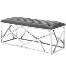 Intersperse Bench, Velvet Fabric Metal Steel, Grey Gray 13814