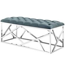 Intersperse Bench, Velvet Fabric Metal Steel, Blue 13815