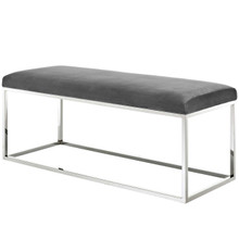 Anticipate Velvet Bench, Velvet Fabric Metal Steel, Grey Gray 13818