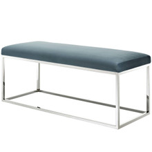 Anticipate Velvet Bench, Velvet Fabric Metal Steel, Blue 13819