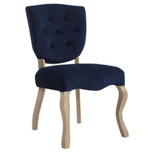 Array Vintage French Dining Side Chair, Velvet Fabric Metal Steel, Navy Blue 13838