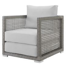 Aura Rattan Outdoor Patio Armchair, Rattan Wicker, Grey Gray White 13866