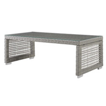 Aura Rattan Outdoor Patio Coffee Table, Rattan, Wicker, Glass, Grey Gray 13867