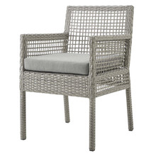 Aura Outdoor Patio Wicker Rattan Dining Armchair, Rattan Wicker, Grey Gray 13868