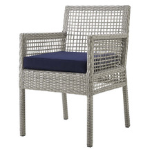 Aura Outdoor Patio Wicker Rattan Dining Armchair, Rattan Wicker, Grey Gray 13869