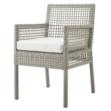 Aura Outdoor Patio Wicker Rattan Dining Armchair, Rattan Wicker, Grey Gray White 13870