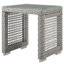 Aura Outdoor Patio Wicker Rattan Side Table, Rattan, Wicker, Glass, Grey Gray 13872