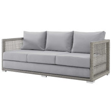 Aura Outdoor Patio Wicker Rattan Sofa, Rattan Wicker, Grey Gray 13873